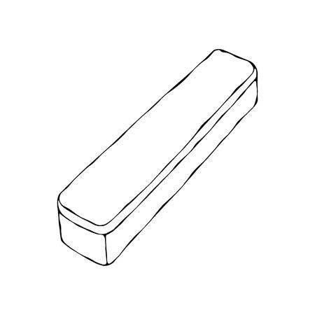 Grey Plastic Box. EPS10 Vector. Hand Drawn Doodle Style Realistic Illustration Foto de archivo - 126910590