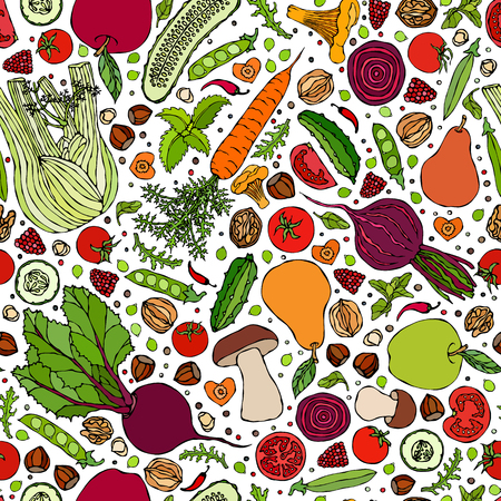 Assorted Vegetables Seamless Endless Pattern. Vegan Background. Template of Vegetarian Healthy Food. EPS10 Vector. Hand Drawn Doodle Style Realistic Illustratio Foto de archivo - 126910598