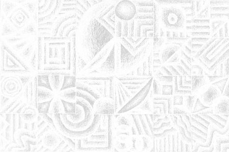 trickery: Geometric Shadow Pencil hand drawn seamless pattern - white color for wallpaper or art work Stock Photo