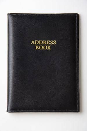 address book: Black leather address book Stock Photo