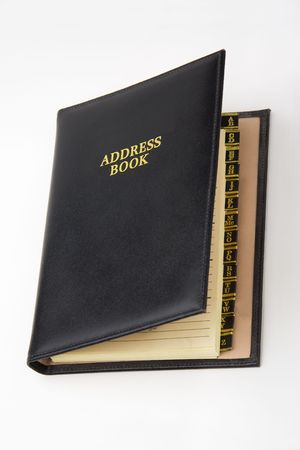 directory book: Black leather address book with A-Z tabs