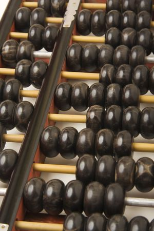 calculator chinese: Abacus with shiny hardwood beads - portrait view