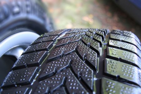 Close-up view of winter tires Stock Photo