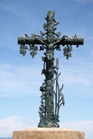 cast iron: Cast iron lifesize crucifix on top of hill in France