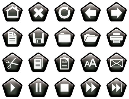 Pentagon shaped glassy buttons for website or print - black photo