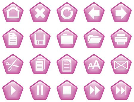 Pentagon shaped glassy buttons for website or print - lilac photo