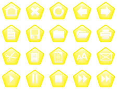 vcr: Pentagon shaped glassy buttons for website or print - yellow