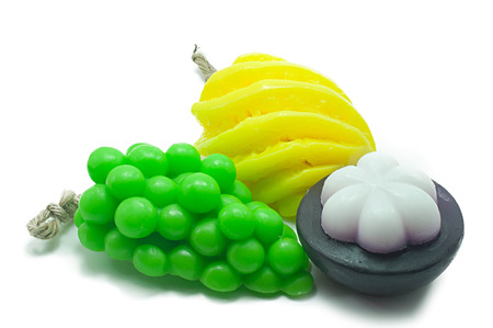glycerin soap: Natural handmade soaps, fancy fruit on a white background.