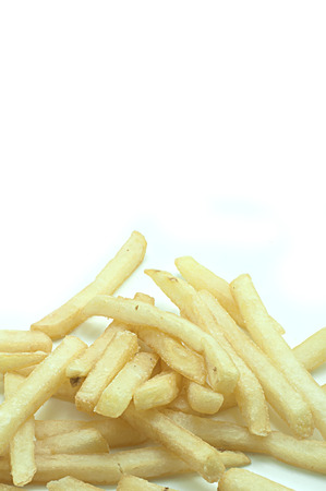 frites: a pile of appetizing french fries on a white background Stock Photo