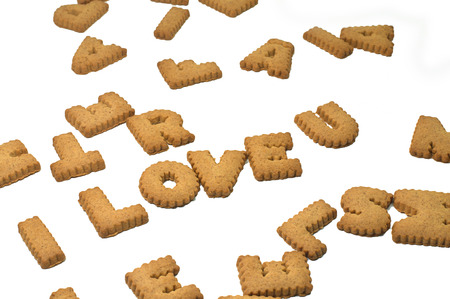 i love u: Cookies letters i love u alphabet on white background