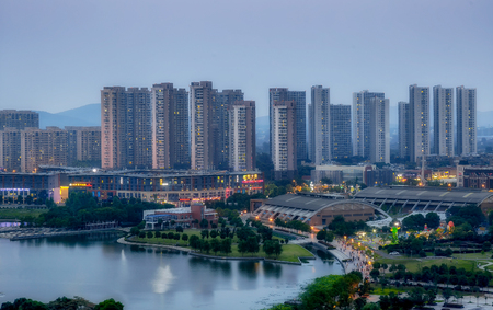 Nanjing New City, Banqiao New District, brightly lit in the evening.