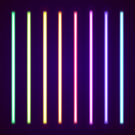 Neon tube light pack isolated on black. Vector illustration