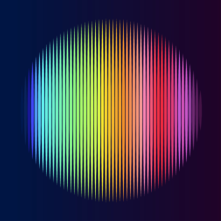 Colorful lined circle. Illustration on black background. Not gradient. Vettoriali