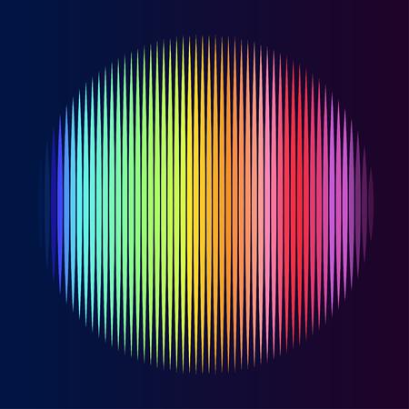 blender: Colorful lined circle. Illustration on black background. Not gradient. Illustration