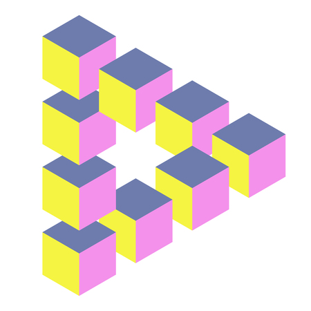 Escher triangle figure. Coloured shape