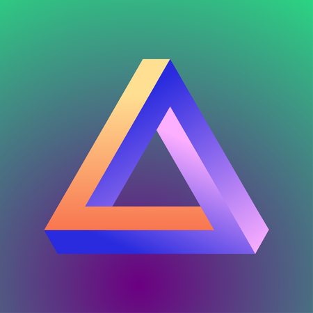 Mobius triangle made in violet, orange and blue colors on the gradient background. Illustration