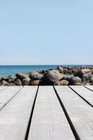 Closeup on the wooden pier photo