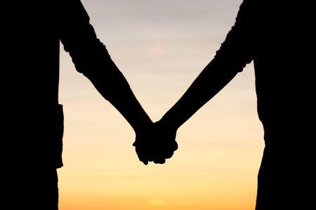 siluetas de enamorados: Manos Looking