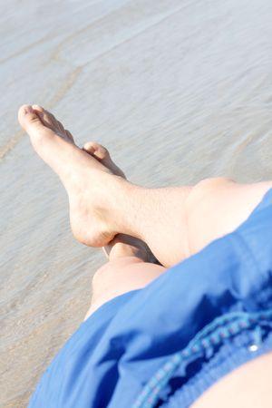 Man enjoying the ocean photo