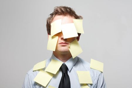 face covered: Man covered in yellow notes