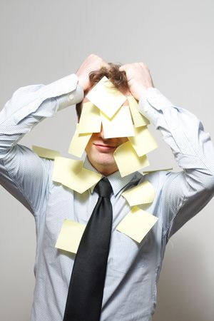 Man covered in yellow notes Stock Photo - 5367186