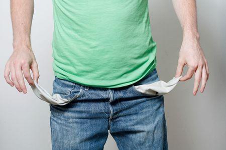 moneyless: A man with empty pockets