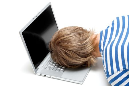 too: A man sleeping on his laptop