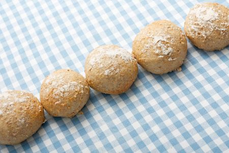 Delicious wholemeal bread rolls freshly baked