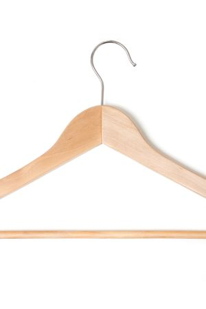 A wooden hanger isolated on white Stock Photo - 5366836