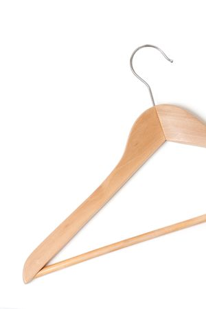 A wooden hanger isolated on white Stock Photo - 5366258
