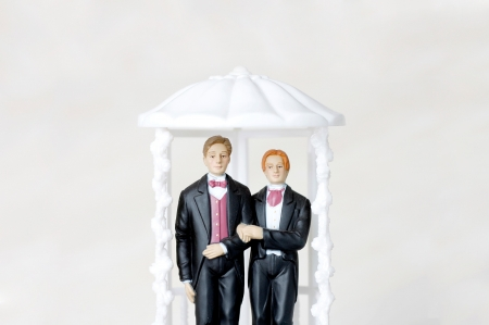 gay marriage: Gay marriage illustrated with two male figures Stock Photo