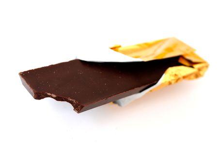 A dark chocolate bar on white Stock Photo - 5565759