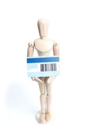 artists mannequin: An artists mannequin with a credit card