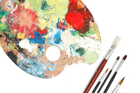 Brushes and a colour palette Stock Photo - 6115655