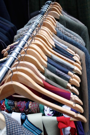 customer tailor: Clothing rack Stock Photo