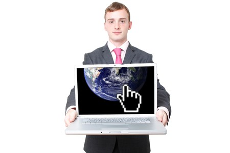 Business man with a laptop photo