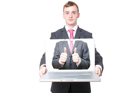A business man with a laptop open photo