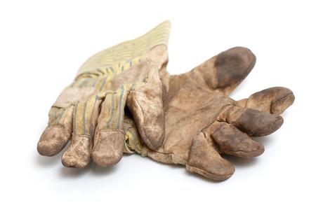 manos sucias: Guantes de trabajo Foto de archivo
