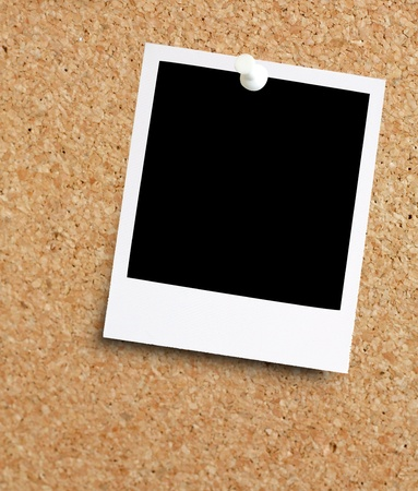 instant: Instant photo on noticeboard Stock Photo