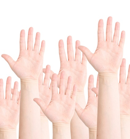 Raised hands photo