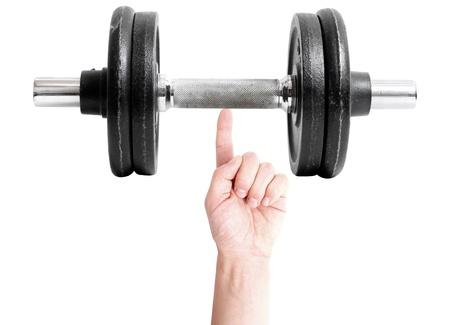 hombre fuerte: Un hombre fuerte, levantamiento de pesas con un dedo