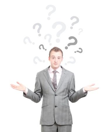 uncertain: Un hombre de negocios encogerse de hombros