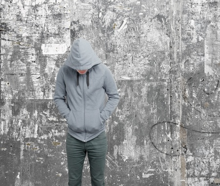 addiction alone: Dodgy guy with hoodie