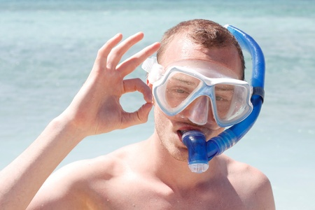snorkelling: A man snorkelling