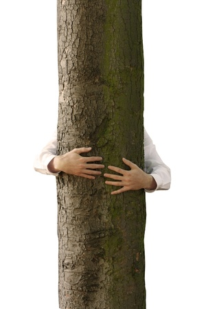 A man hugging a tree