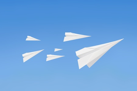 fold: Paperplanes flying Stock Photo