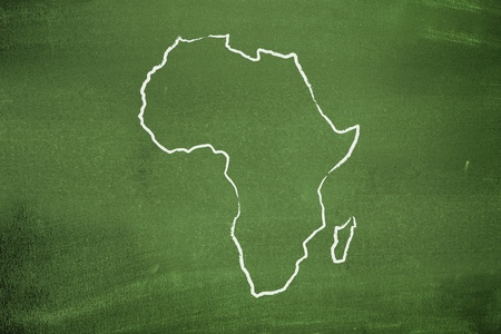 chalk outline: African map Stock Photo