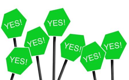 persuasion: Signposts saying yes Stock Photo