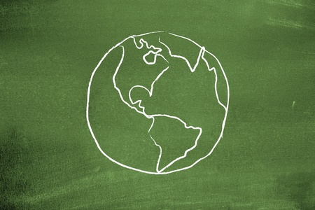 sustainable resources: Earth on blackboard Stock Photo