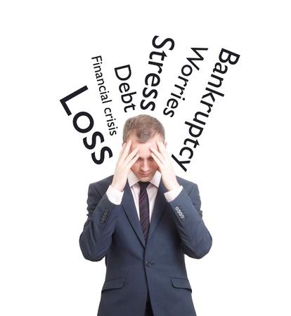 bankrupt: A worried business man